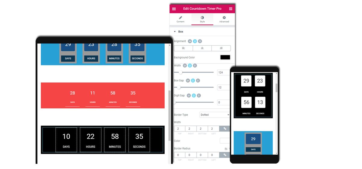Responsive mobile friendly countdown timer