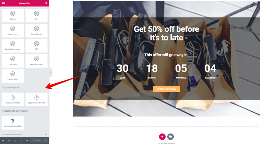 Adding a Countdown Timer for Elementor powered WordPress website