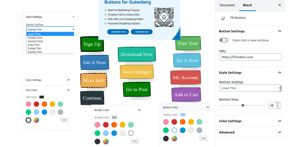Buttons for Gutenberg